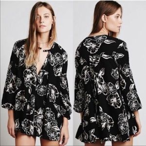 Free People floral foil print swing tunic dress M